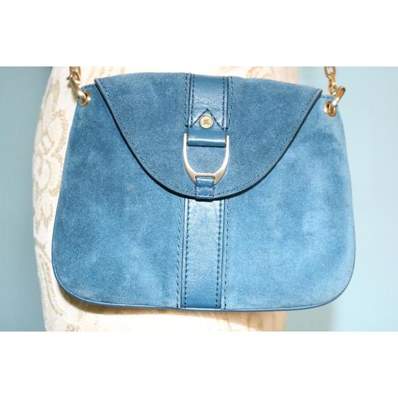 Cole Haan Handbags - Cole Haan Dark Teal Suede Gold Chain Crossbody Bag